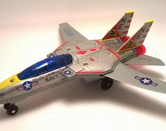 Vintage SONAI Toy F14A Tomcat Tin Toy Jet Fighter Battery Operated with Original Box USAF Airplane