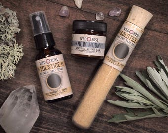Moontime Gift Set SOLSTICE + NEW MOON Self Care Bath Salt Massage Salt Spray Gift for Her