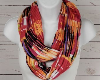 Infinity Scarf Hot Pink Magenta Orange Red Black and White Handmade Double Loop Scarf in Soft Jersey Knit Handmade by Thimbledoodle
