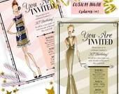 Party Invitations, Fashion party invite, Fashion birthday party, Adult birthday invitations, Graduation invitations, college graduation