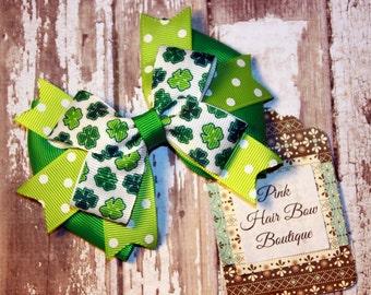 Shamrock hair bow St. Patrick's Day Bow - Clover Hair Bow - St. Patty's Day hair bow , green hair bow , holiday hair bow