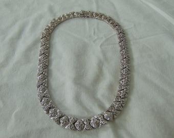 vintage nolan miller signed pave crystal art deco necklace