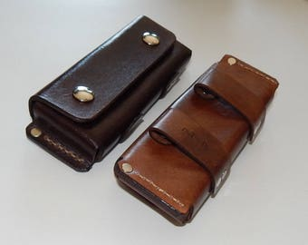 Horizontal leather belt pouch sheath for folding knife; Hand-made in USA; great for hiking, camping, & everyday carrying