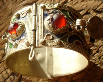 Moroccan  tarnished multi enamel bracelet cuff with jewels and coin dangles