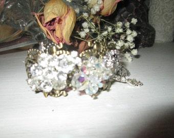 Vintage jewelry re-purpose into a bracelet rhinestones and blinkg