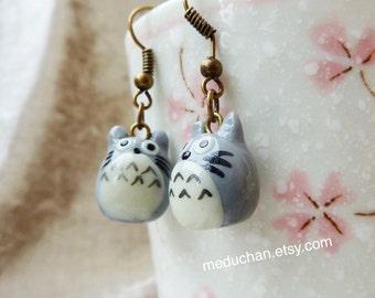 My Neighbour Totoro inspired Totoro earrings polymer clay charm earrings