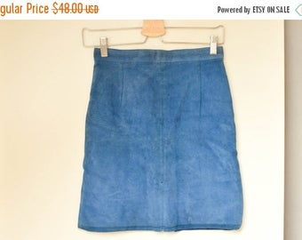 SALE Electric Blue Real Leather Pencil Mini Skirt  Vintage 90's