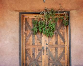 Southwestern Door Photography Print Fine Art New Mexico Adobe Rustic Wreath Southwest Winter Landscape Photography Print.