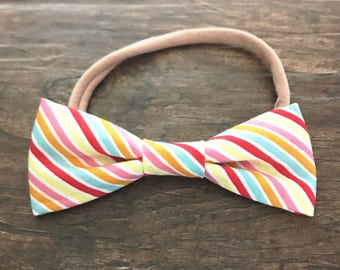 Rainbow Stripe Bow Headband
