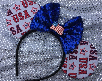 USA mouse ears - usa mickey ears, Fourth of July ears, patriotic mouse ears, america mouse ears, america mickey ears, red white and blue