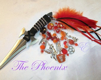 The Phoenix Embellished Athame - Several Blade Styles/Sizes - -Garnet, Carnelian