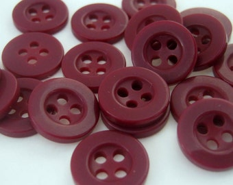 40 Four Hole Dark Red Resin 11mm Buttons, Sewing, Crafts