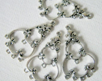 8 Chandelier Earring Connectors Dangles Antique Silver, 35x19mm, Jewelry Supplies    (1005)