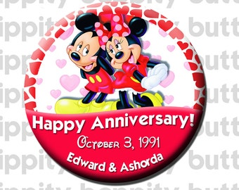 Mickey + Minnie Custom Anniversary Buttons (2)