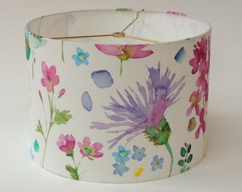 "Linen Watercolor Painterly Floral Drum Lamp Shade 14"" Diameter X 10"" Tall - Ready to Ship"