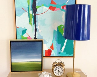 Unfinished Brass Lamp with Cobalt Blue High Gloss Lamp Shade with Gold Lining