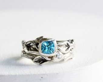 Blue Topaz, White Sapphire,Leaf Twig Engagement Rings, Silver Twig Ring Set