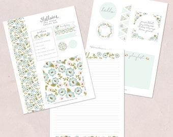 Printable Letter Kit {blue flora}