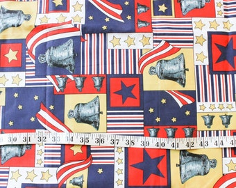 Liberty Bell Fabric in woven cotton . American Patriotic Stars and Stripes . Quilting . By the yard . Patchwork patch USA united states