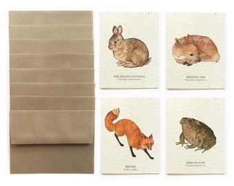 Forest Wildlife - Set of 8 Plantable Seed Greeting Cards