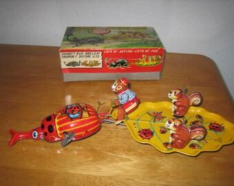 Vintage WAGON FANTASY LAND Wind-up Litho Tin Toy with Box     1950's      Japan