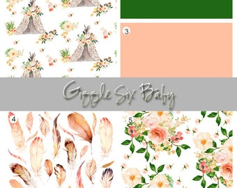 Floral Crib Bedding Set, Girl Nursery, Peach, Green, Tribal, Teepee, Boho, Feather, Baby Nursery Decor, Crib Sheet, Crib Skirt, Baby Blanket