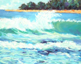 "Hawaii Painting, Original Oil Painting, Ready to Hang, 10 x 10"", ""Kauai Waves"" by Kim Stenberg, Rich Impressionistic Art"