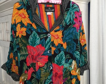 Size 14 Carole Little II Rayon Mixed Print Dress With Vibrant Tropical Flowers