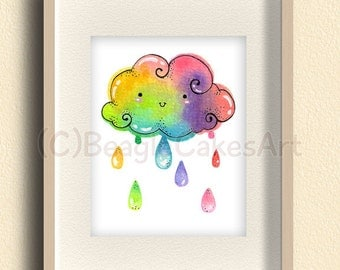 Rainbow Art Print. Colorful Wall Art. Watercolor Painting. Nursery Art. Spring Home Decor. Watercolor Print. Gift for Girls. Kids Wall Art.