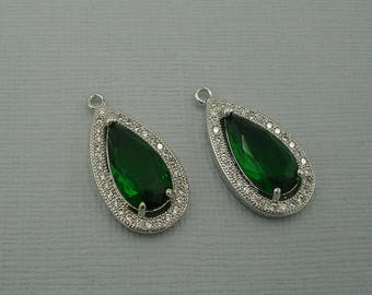 Emerald Teardrop  Cubic Zirconia CZ Rhodium Plated Pendant Charm Findings Jewelry Supply.