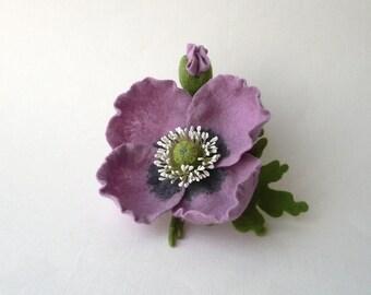 Felt flower brooch lilac poppy, ready to ship