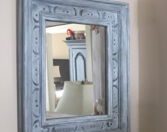 Rustic Farmhouse Carved Wood Mirror - Chunky Distressed Accent Mirror in Shades of Gray