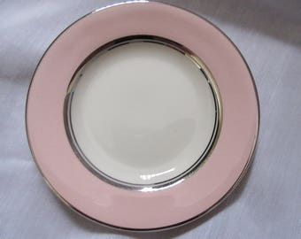 pink silver plate Castleton china/shell pink/Rings and things/single cupcake plate ,charming, glass,Shabby Chic