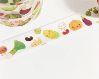 Adorable Kawaii Vegetable Colorful Smiley Face Vegetable Food Washi Tape 11 yards 10 meters 15mm