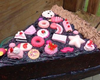 Dark Chocolate dummy cake slice decoden sculpture fake cake display