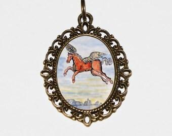 Pegasus Necklace, Mythical, Flying Horse, Wings, Fantasy, Mythology, Bronze Oval Pendant