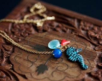 Patina Seahorse Necklace Verdigris Seahorse Charm Blue Bead Natural Coral Small Shell Beach Necklace Ocean Inspired Mermaid Jewelry - N356