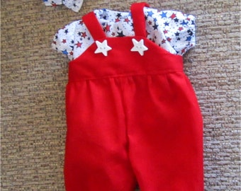 """15""""  Baby Doll Clothes Bright Red Romper Red White Blue Star Print  Shirt Headband  Fits Bitty Baby, Bitty Twins or Other 15"""" Baby Doll"""