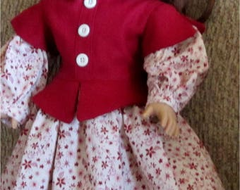 """Beautiful Burgundy Light Beige Floral Dress with Peplum  Fits American Girl or Similar 18"""" Doll"""