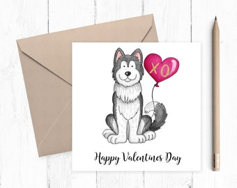 Husky Valentine Card - Husky - Valentine card - ideal for dog lovers - free uk shipping