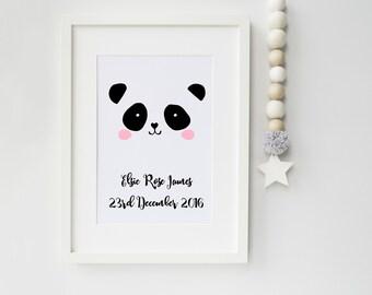 Personalised Panda Girl Art Print, art print, nursery print, children's bedroom, scandinavian art, scandi, panda, ideal gift new parents