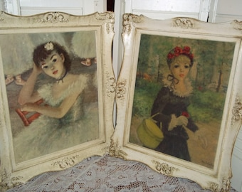 """Vintage Paris France Inspired Huldah wall pictures Prints, 17x14"""" ornate distressed frame Ballerina strolling park lady..Reduced..Was 24.99"""