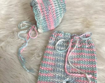 Newborn Hand Knit Pants and Bonnet Set, Pink, Blue & Soft Green Stripe Baby Shorties and Bonnet, Newborn Photography Prop, Ready To Ship