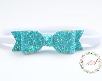 Turquoise Bow Headband - Turquoise Glitter Bow Headband - Baby Bow Headband - Nylon Headband