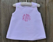 Girls A-line Seersucker Dress, Classic Jumper, can be monogrammed with add on...3m,6m,9m,12m,18m,2t,3t