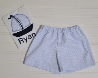Baby Boy Beach outfit, Sailboat Summer Seersucker shorts and shirt, seersucker clothing, matching brother sister 6m,12m,18m,2t,3t,4t,5