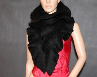Handmade felted ruffle scarf Black scarf Long scarf Made to order