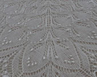 FREE SHIPPING Knitted lace shawl ,white wedding shawl, lace baby blanket, christening shawl, baptism shawl, heirloom blanket