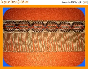 TRIM Jute Burlap Natural Fringed, Southwestern, Woven, Native American, Wide BTY