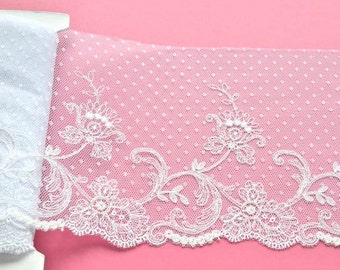 White Polka Dot Lace, White Floral  Wedding Trim, Bridal Veil, Mantilla Lace, Dolls, Wedding Accessories, Lace Crafts